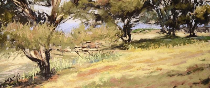 Expressive Landschaft in Pastell