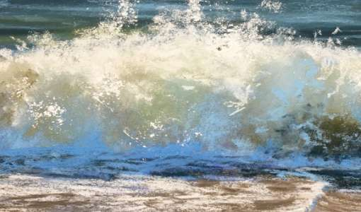 Wellen, Schaum und Gischt in Pastell