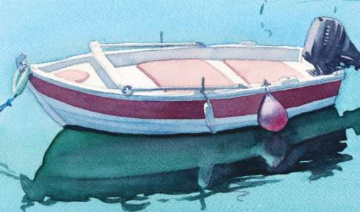Wasser im Aquarell  - Spiegelung und Widerschein