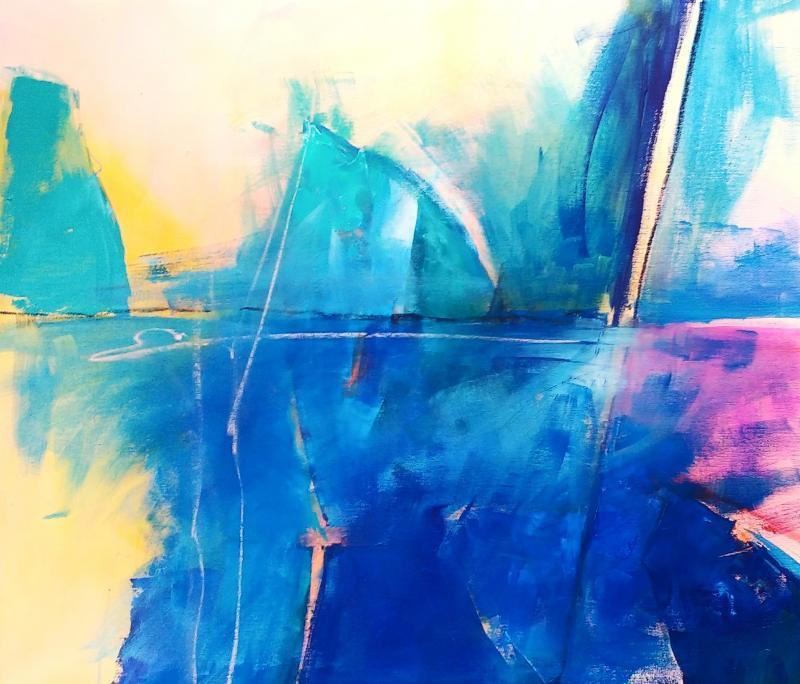 Abstraktion mit Malmesser und Pinsel