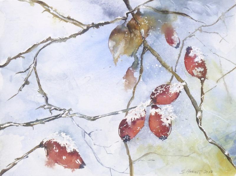 Winterwelt in Aquarell